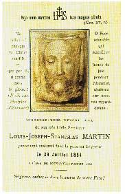 Ricordino della morte di M. Louis Martin. Vi è raffigurato il Volto Santo